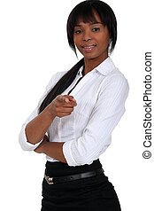 Black woman pointing
