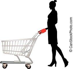 Black woman pushing - : Black woman pushing shopping cart ...