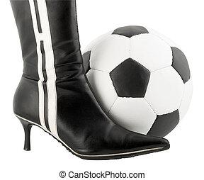 Black woman shoe and football ball