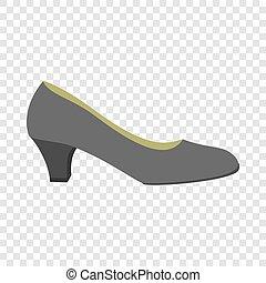 Black woman shoe icon, flat style
