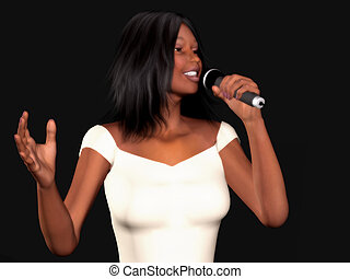 Black woman singing - A young beautiful black woman singing...