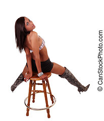 Black Woman Snake Skin Boots Shorts Stool