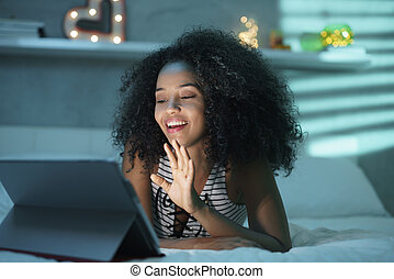 Black Woman Using Webcam And PC For Video Chat