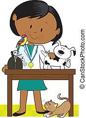 Black Woman Vet and Pets - Black woman veterinarian tending...