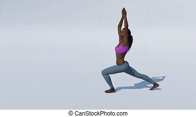 Black woman warrior yoga pose on white background