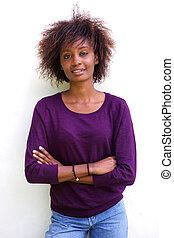 Black woman with afro against white background