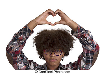 black woman with heart sign