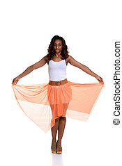 black woman with orange skirt