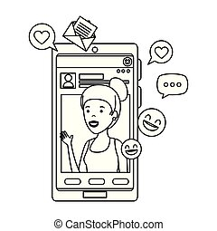 black woman with smartphone and social media icons