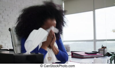 Black Woman Working from Home And Sneezing For Cold