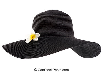black woman's hat with flower isolated on white background