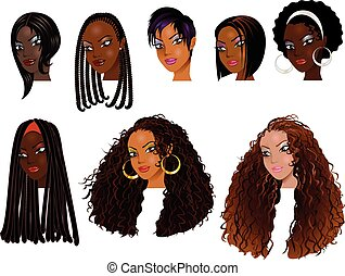 Black Women Faces - Vector Illustration of Black Women...