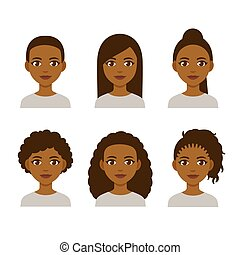 Black women hairstyles - Black women faces with different...