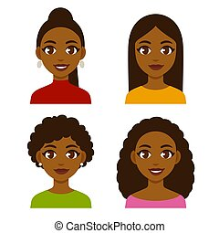 Black women set - Cute cartoon black girls with natural...