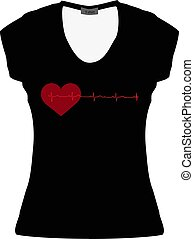 Black women T-shirt with a red heart and cardiogram. Mockup. Vector illustration on isolated background