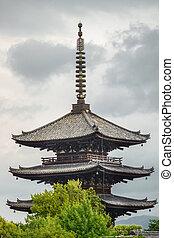 Black wood temple in Kyoto