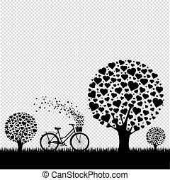 Black Wood With Hearts With Bicycle Transparent Background