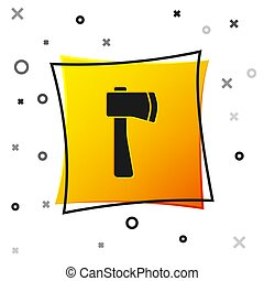 Black Wooden axe icon isolated on white background. Lumberjack axe. Yellow square button. Vector Illustration