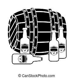 black wooden barrel with bottles of beer