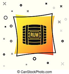 Black Wooden barrel with rum icon isolated on white background. Yellow square button. Vector Illustration