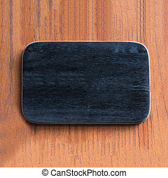wooden board on brown wood background.