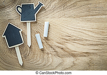 Black wooden chalkboard price sign tags on wood board horizontal