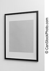 Black wooden frame with white margin space on white wall