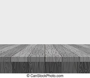 Black wooden table background. Texture tree vector illustration plane.
