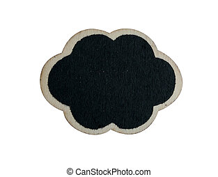 Black wooden tag on the white background