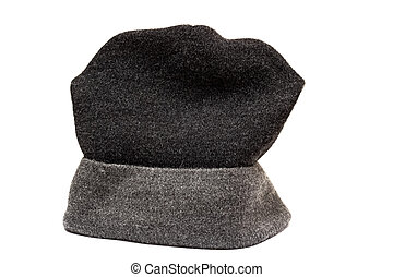 Black woolen hat isolated on white background