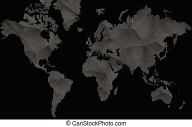 Black World Map for Infographics. Abstract vector map.