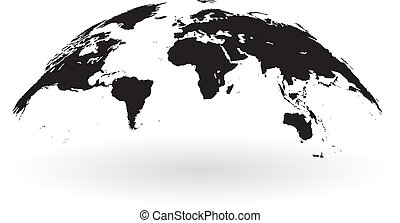 Black world map globe isolated on white background