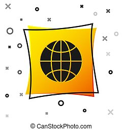 Black Worldwide icon isolated on white background. Pin on globe. Yellow square button. Vector Illustration