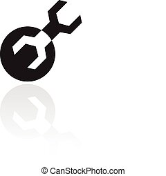 Black wrench isolated on white