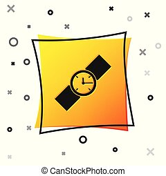 Black Wrist watch icon isolated on white background. Wristwatch icon. Yellow square button. Vector Illustration