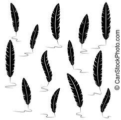 Black writting feathers on white