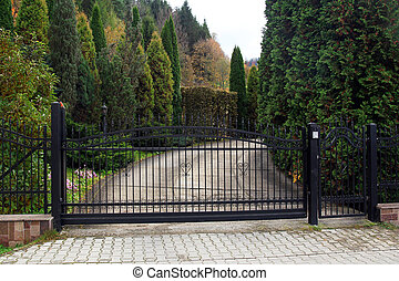 black wrought gate to property with garden in the background