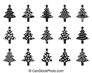 black xmas tree icon set
