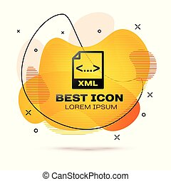 Black XML file document icon. Download xml button icon isolated on white background. XML file symbol. Fluid color banner. Vector Illustration