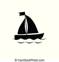Black yacht boat icon isolated on white background.