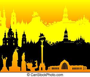 black yellow orange silhouette of Kiev