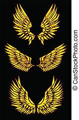 black yellow red vector wings vector