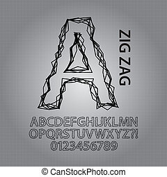 Black Zig Zag Alphabet and NUmbers Vector
