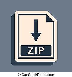 Black ZIP file document icon. Download ZIP button icon isolated on grey background. Long shadow style. Vector Illustration