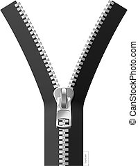 Vector illustration of a black zipper. For making zipper longer you may easy duplicate lower part of vector image.