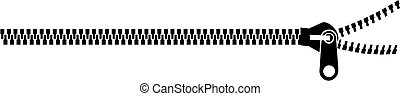 Black zipping over white - Black zip on white background. ...