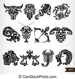 Black zodiac horoscope signs