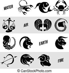 black , zodiac, stertekens