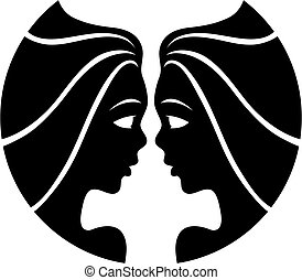 Black zodiacs gemini - Black gemini isolated on white