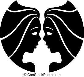 Black zodiacs gemini - Black gemini isolated on white